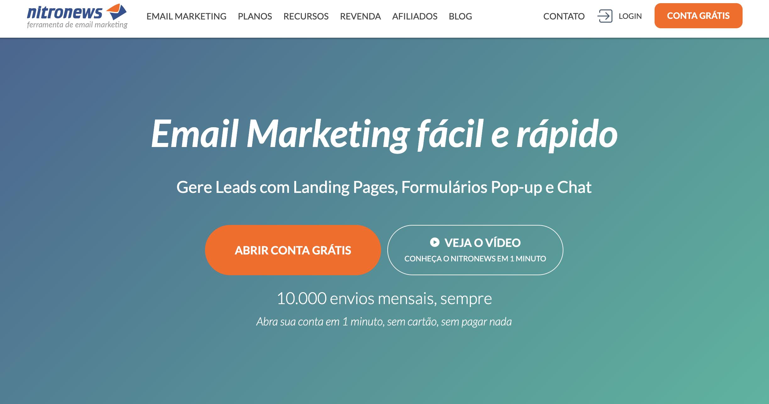 Nitro News como exemplo de ferramenta grátis de email marketing