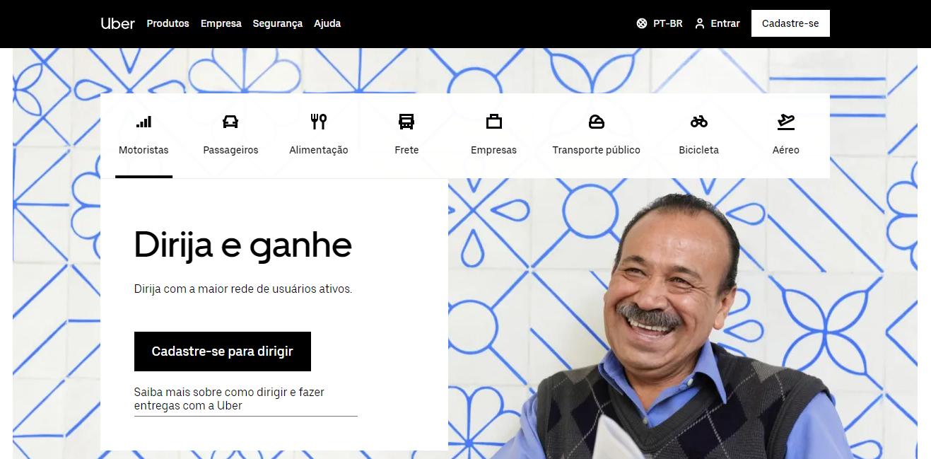 página do site da Uber como exemplo de landing page de alta conversão