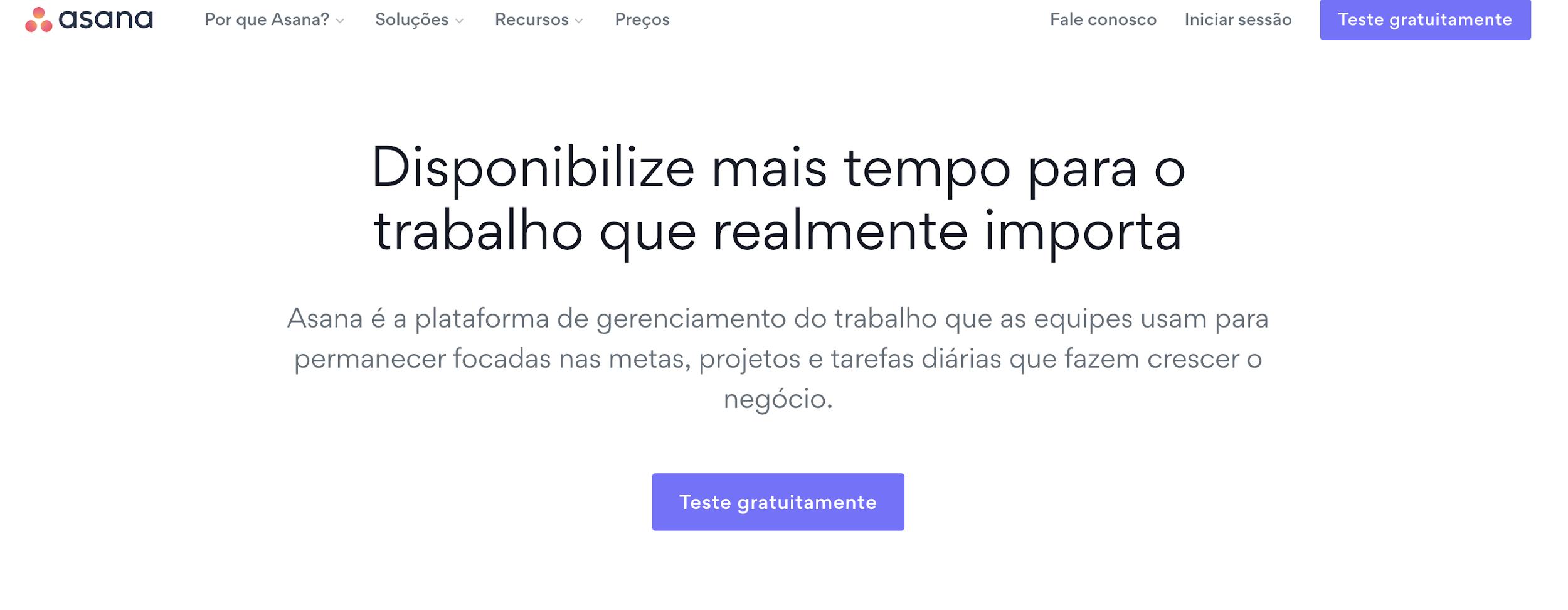 página inicial da Asana como exemplo de plataforma digital