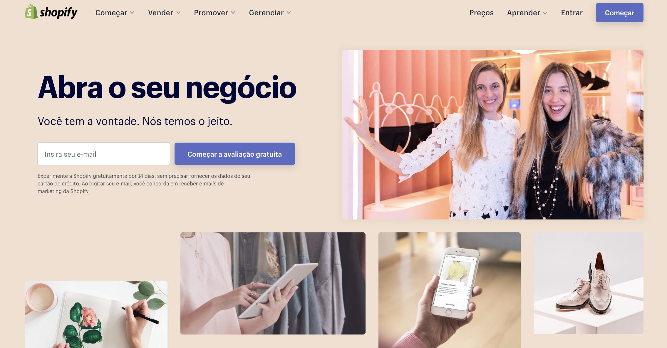 página inicial da plataforma Shopify para ecommerce