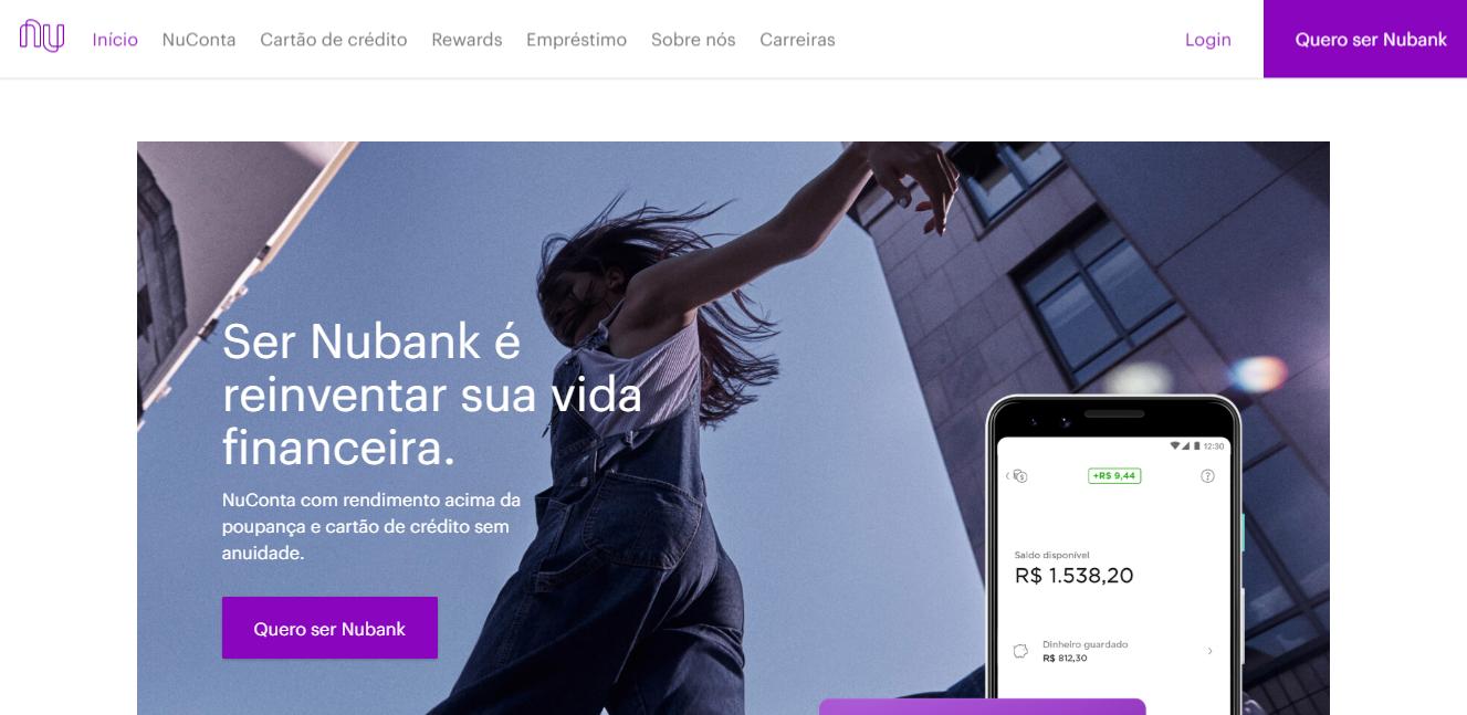 página inicial do site da empresa NuBanck como exemplo de landing page de alta covnersão