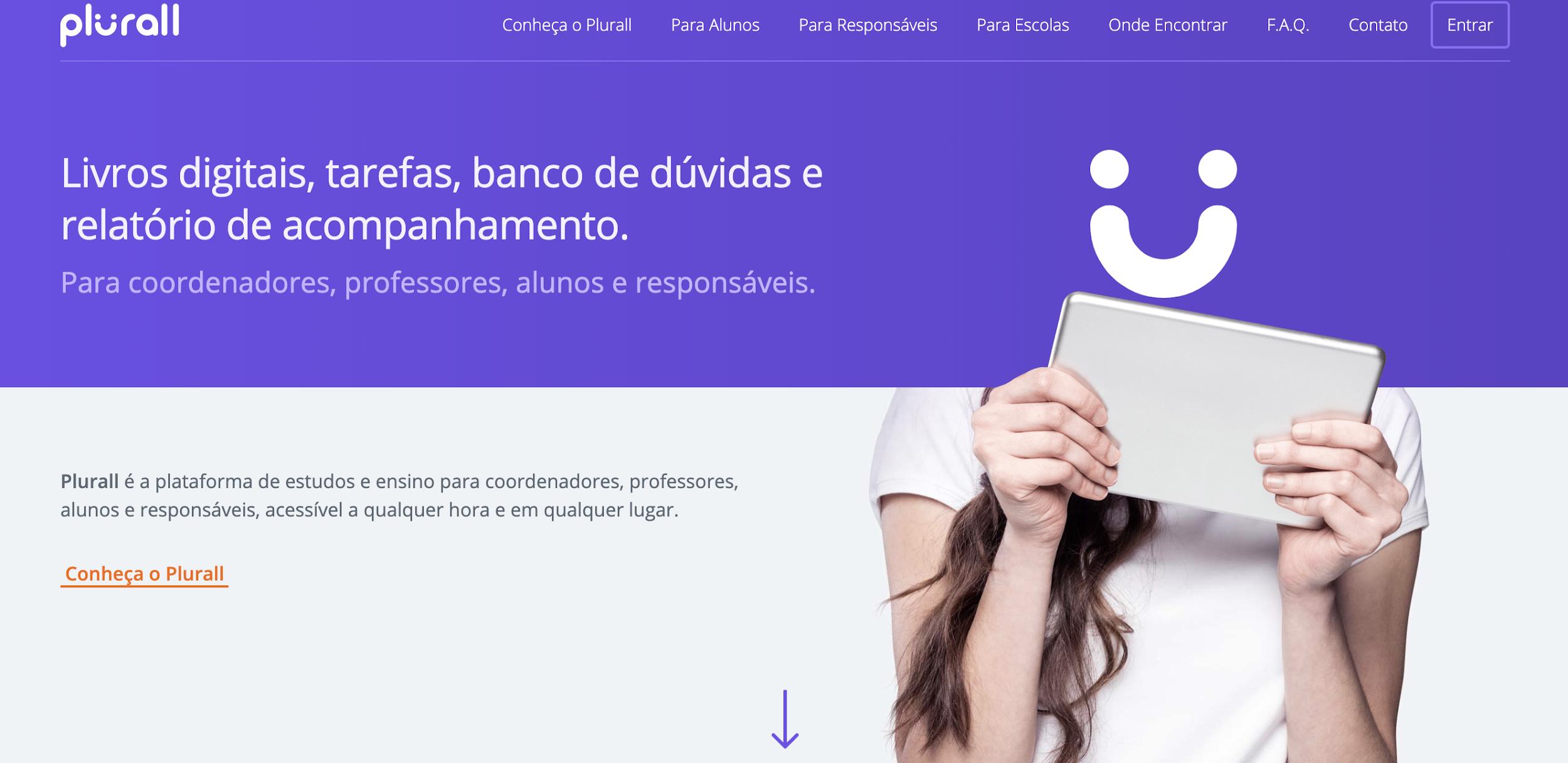 Plurall como exemplo de plataforma digitais para educação
