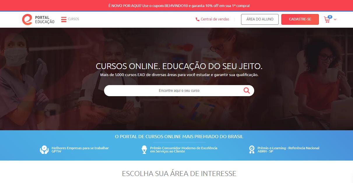 Portal Educação como exemplo de plataforma de cursos online