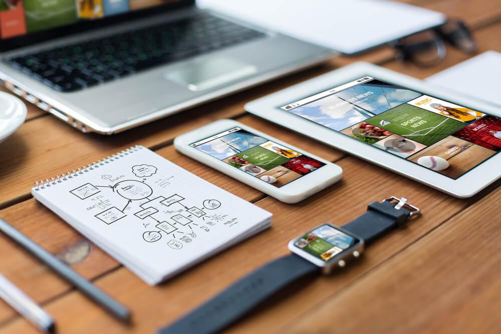 teste do design do site responsivo em vários dispositivos