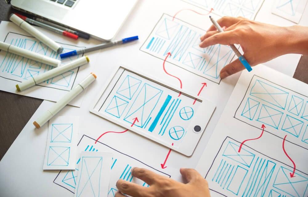 wireframe em papel e caneta