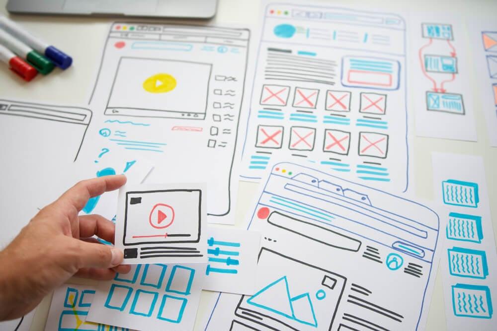 wireframe em papel para web