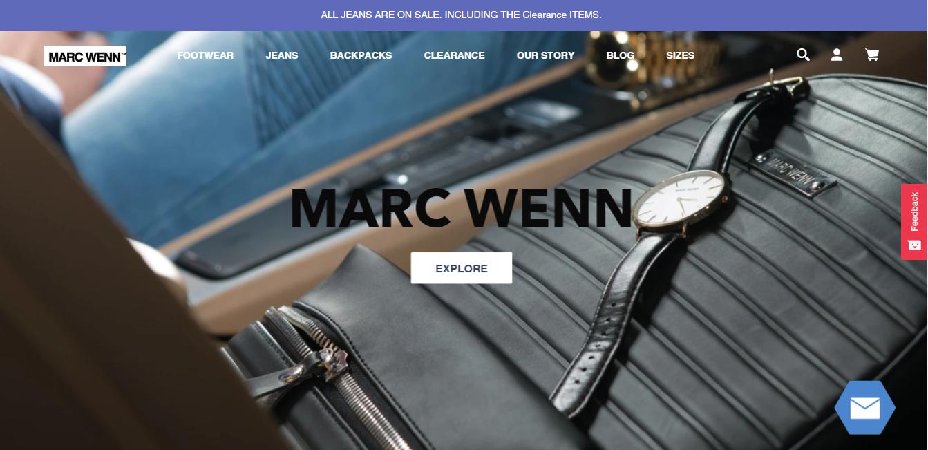 Mark Wenn como exemplo de site que utiliza Shopify