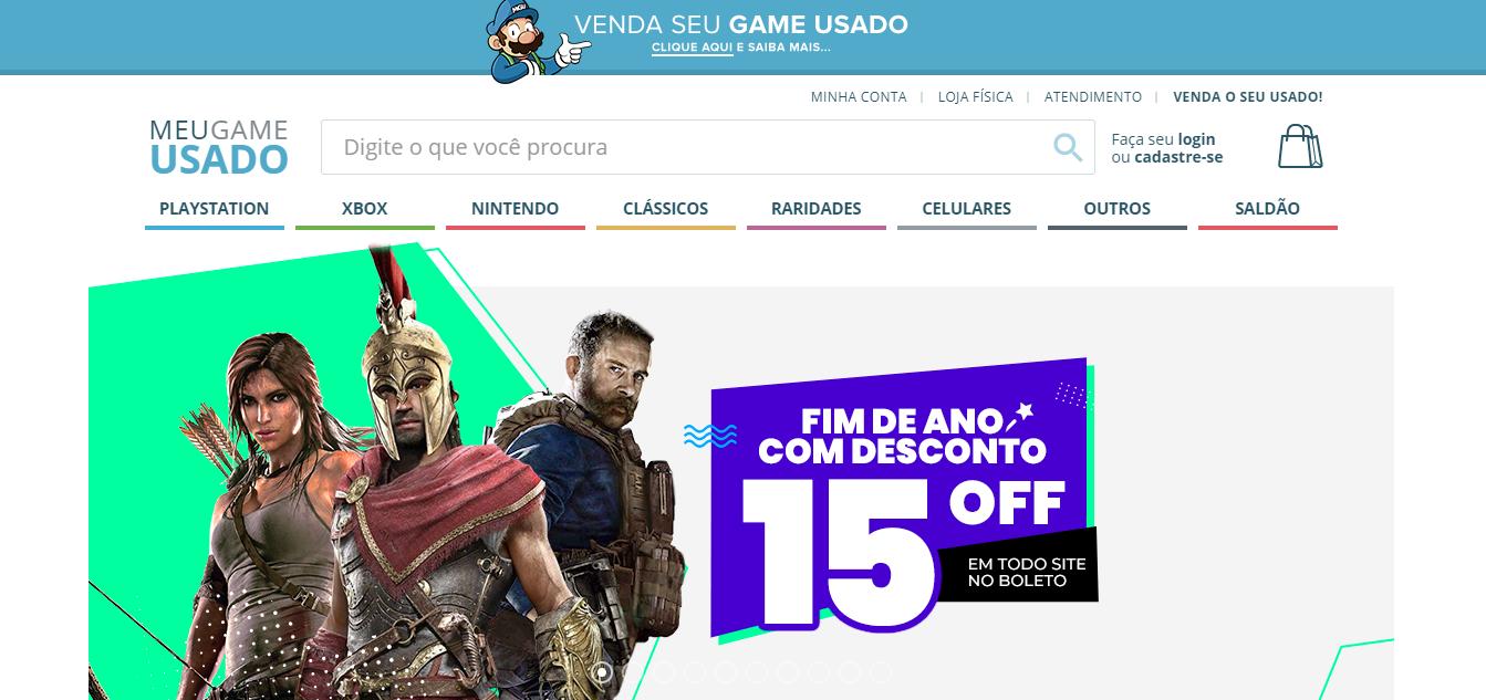 página inicial da loja integrada Meu Game Usado