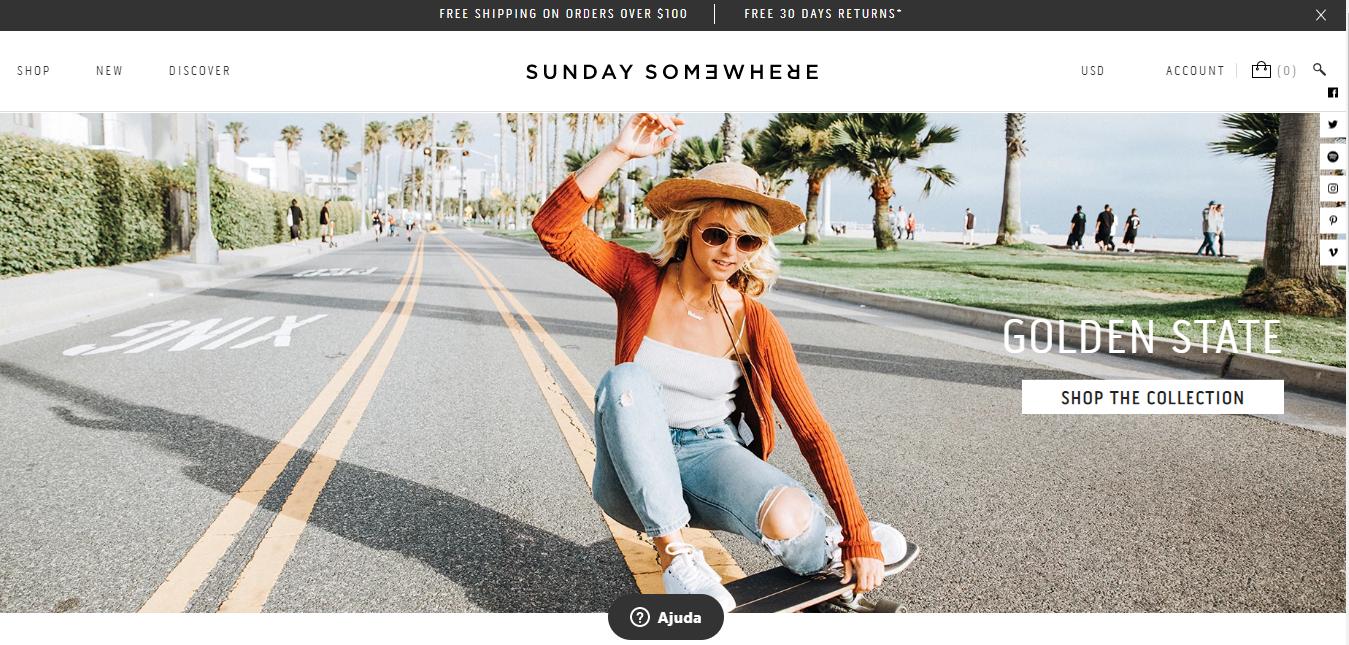 Sunday Somewhere como exemplo de site que utiliza Shopify