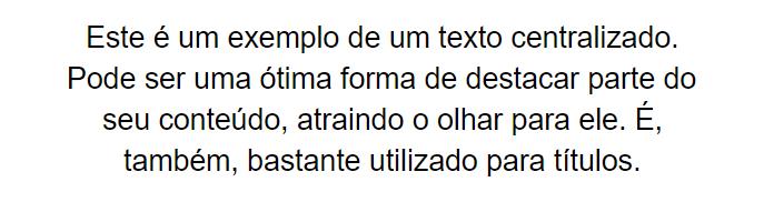 texto centralizado
