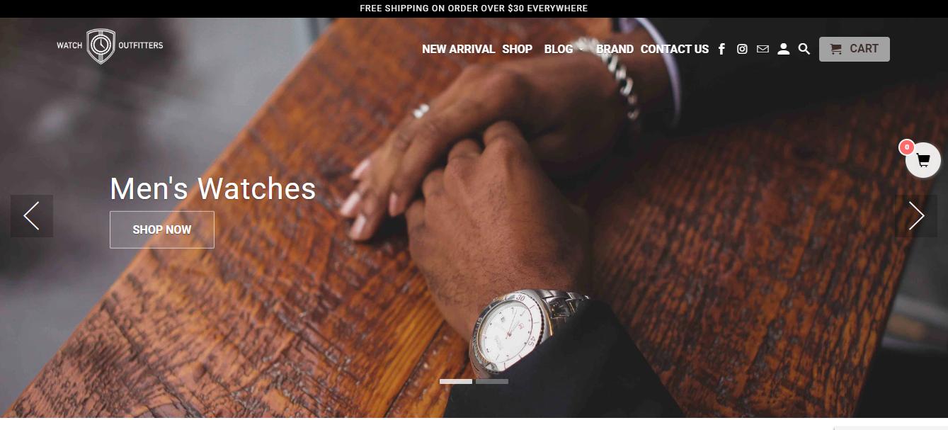 Watch Outfitter como exemplo de site que utiliza Shopify
