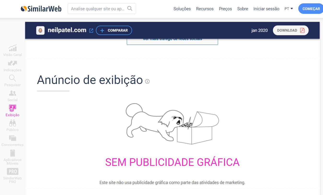 página de informações sobre exibi9ção dentro da plataforma SimilarWeb