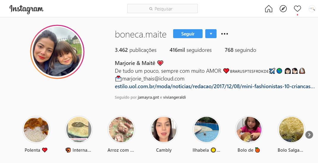 boneca maite como exemplo de bio de instagram de bebe