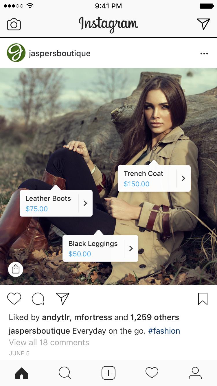 exemplos de produtos do Instagram Shopping