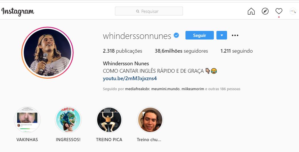 whindersson nunes como exemplo de bio masculina