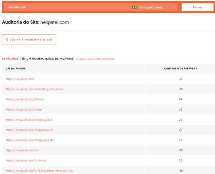 relatorio de paginas com numero baixo de palavras na ubersuggest