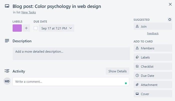 blog post trello card example in building a marketing calendar