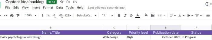 using spreadsheets in progress to build a marketing calendar