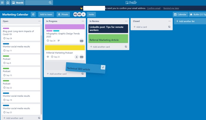 trello card example in marketing calendar