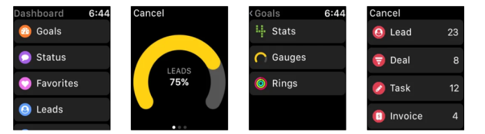 Apple Watch Apps A screenshot of Gro CRM