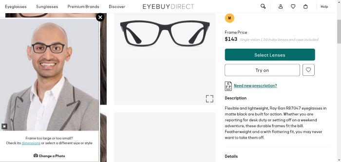 Glasses virtual try on screenshot augmented intelligence 1
