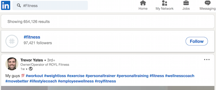LinkedIn Top Hasthags LinkedIn option to track fitness hashtag