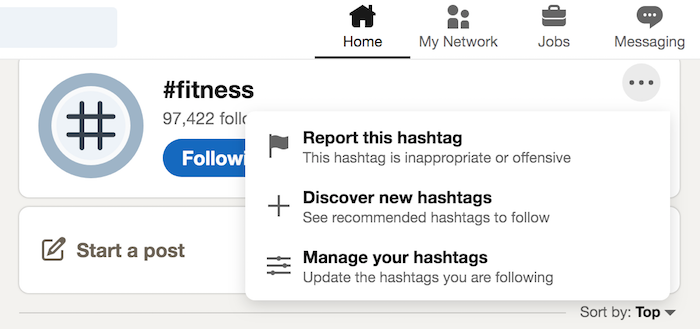 Using LinkedIn Top Hashtags