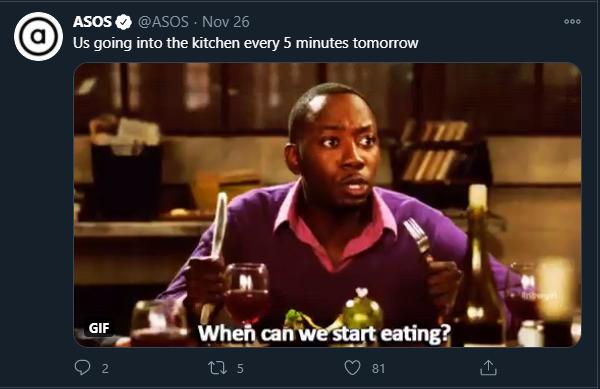 ASOS Twitter Memes für Marketing Thanksgiving