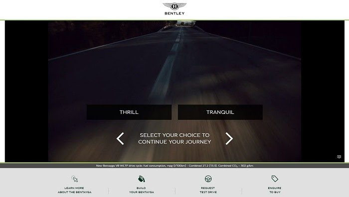 Bentley Bentayga microsite