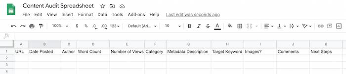 طراحی صفحه گسترده ممیزی محتوا با استفاده از Google Spreadsheets