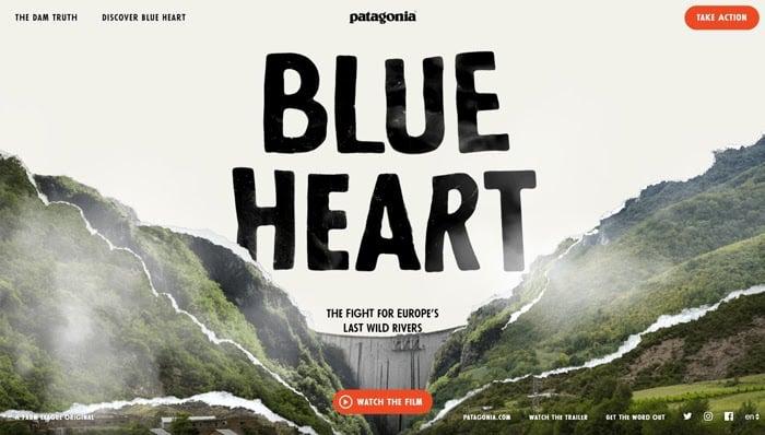 patagonia blue heart microsite