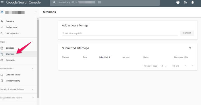 plans de site dans la console de recherche Google