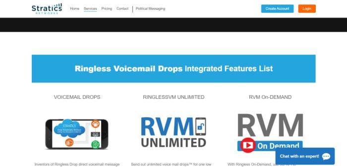 Stratics Network bietet ringlose Voicemail in Kanada und den USA an.