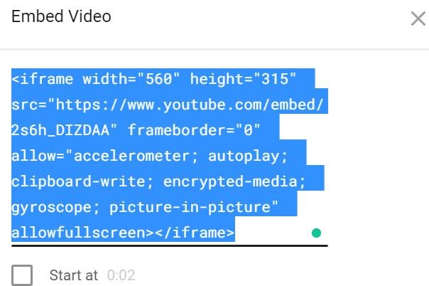 Embed Videos - Code example