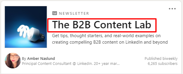 linkedin newsletter name description
