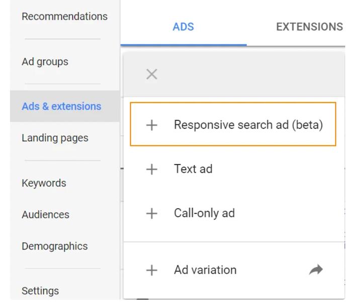 تبلیغات جستجوی پاسخگو - حساب Google Ads خود را باز کنید