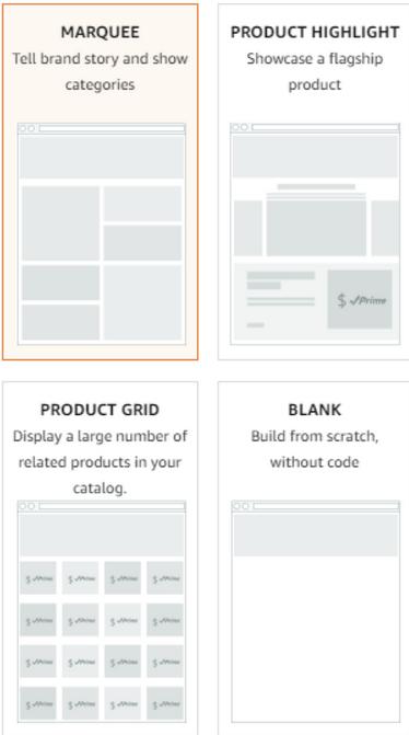 Amazon storefront - templates