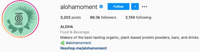 best Instagram bios - aloha instagram page bio