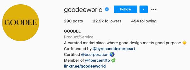finest Instagram bios- goodee instagram page bio