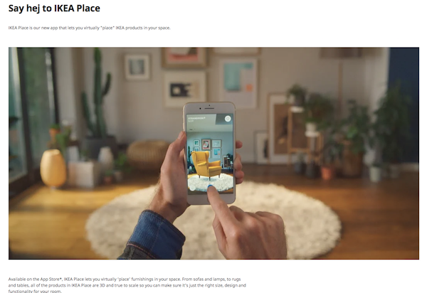 Examples of X Reality - IKEA app