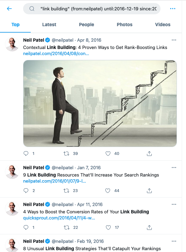 Old Tweets - Neil Patel Example