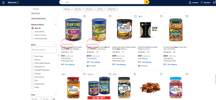 walmart advertising search in grid example