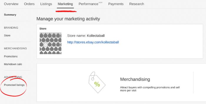 eBay-Anzeigen - Einrichten von gesponserten Angeboten