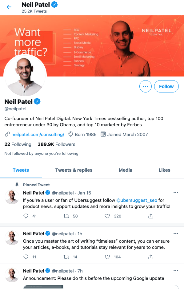how to become an influencer - neil twitter
