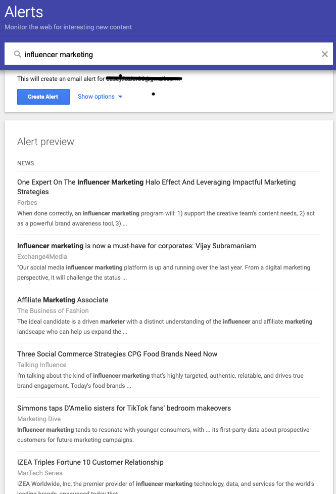 influencer marketing - google alerts
