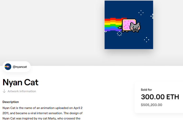 Nyan cat is a GIF turned NFT that sold for close to $500,000.