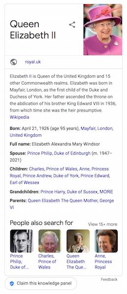claim knowledge panel - queen Elizabeth