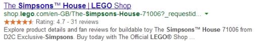 Lego verwendet Erweiterungen, um Kundenbewertungen in Google-Einträge aufzunehmen