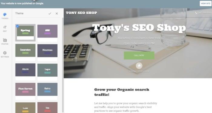 Free Google website - Tony's SEO Shop website example