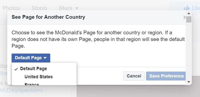 mcdonald's country merge Facebook accounts